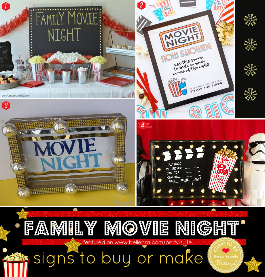 DIY Marquee-style Movie Night Signs