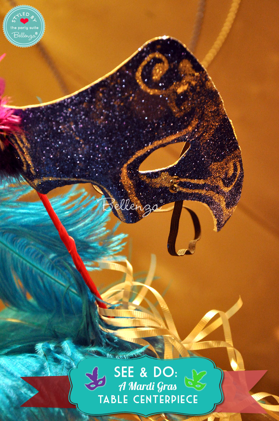 Black Mardi Gras mask with teal feathers.