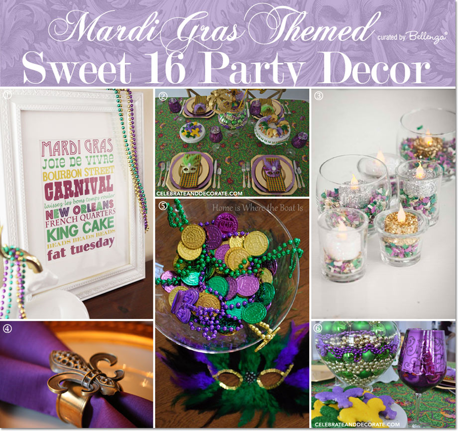 Mardi Gras Sweet16 Decor // Curated by Bellenza.