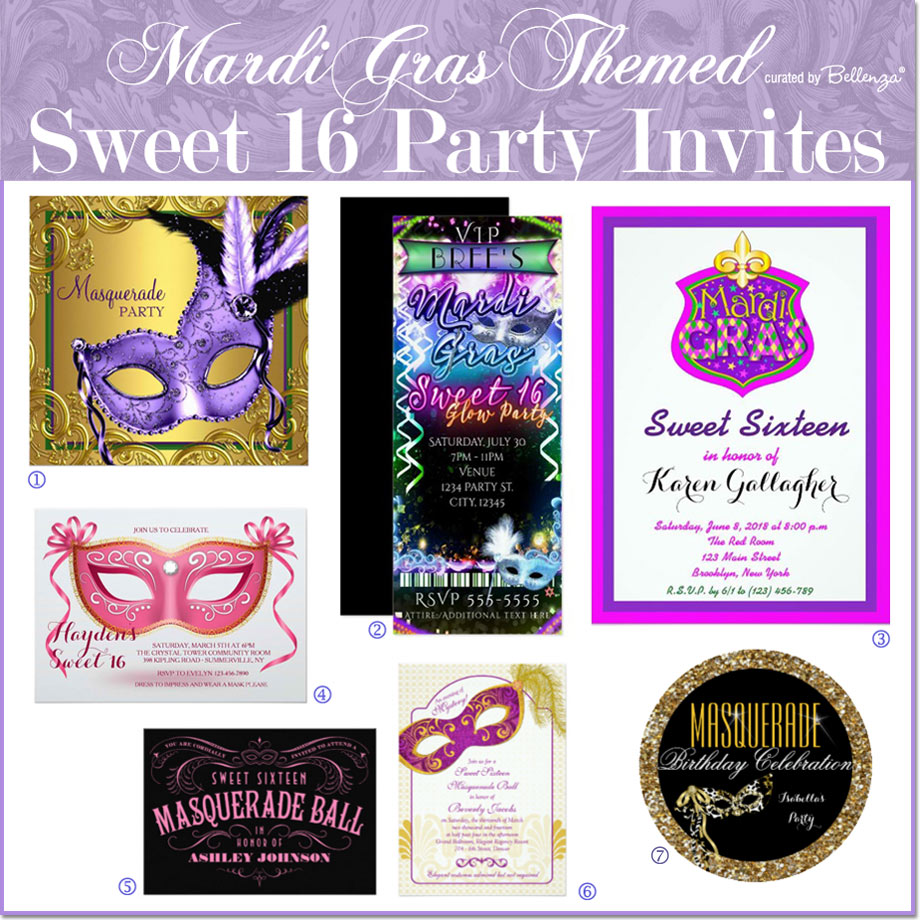 Mardi Gras Sweet 16 Invites // Curated by Bellenza.