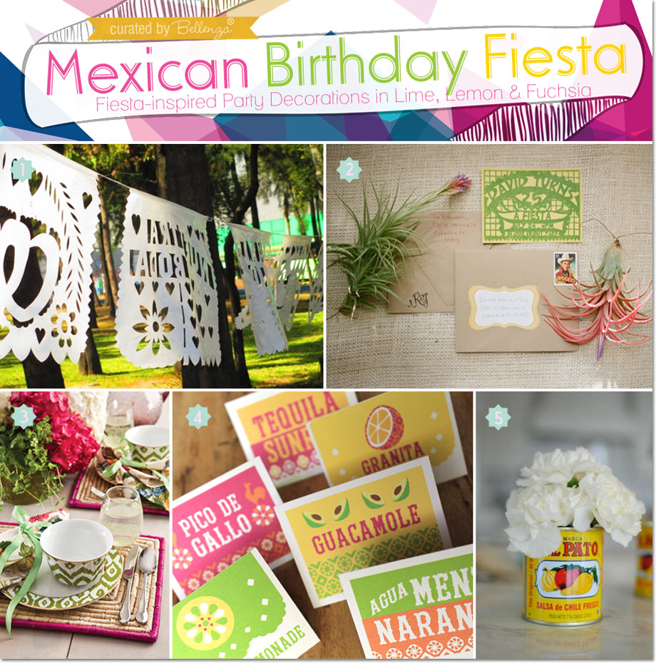 Fiesta-inspired Party Decorations in Lime, Lemon, and Fuchsia | as featured on the Party Suite at Bellenza.