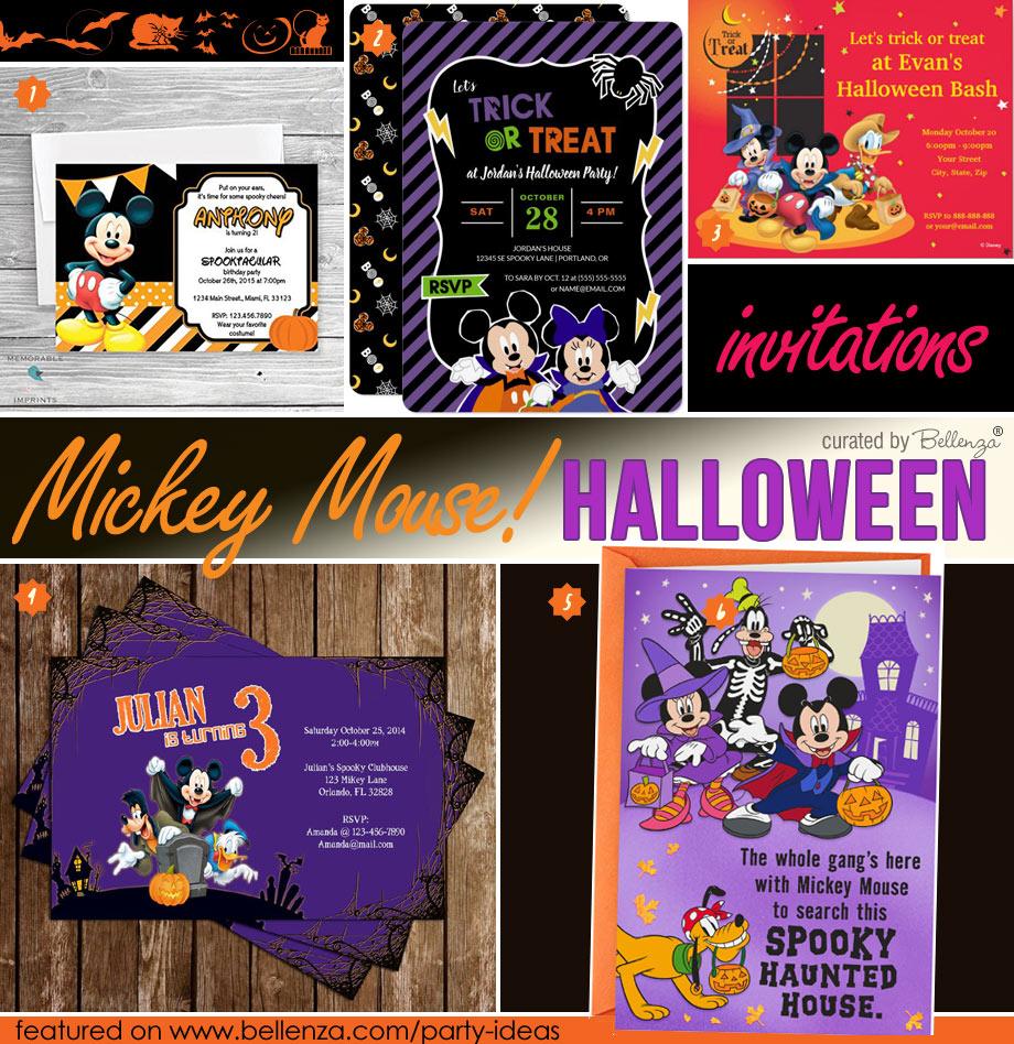 Mickey-themed Halloween Party Invitations