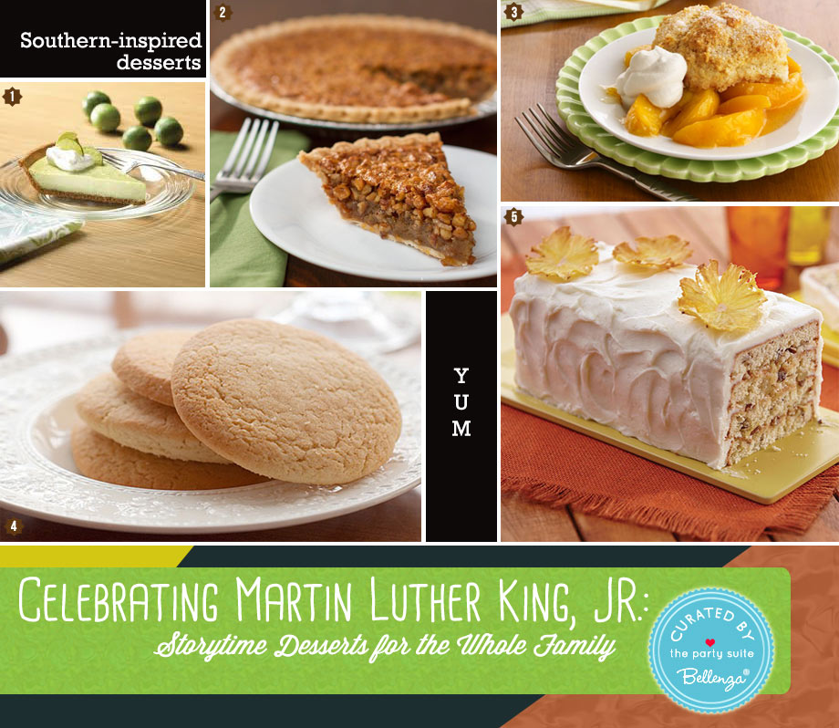 Southern-inspired Desserts like pecan pie and peach cobbler for celebrating MLK day.