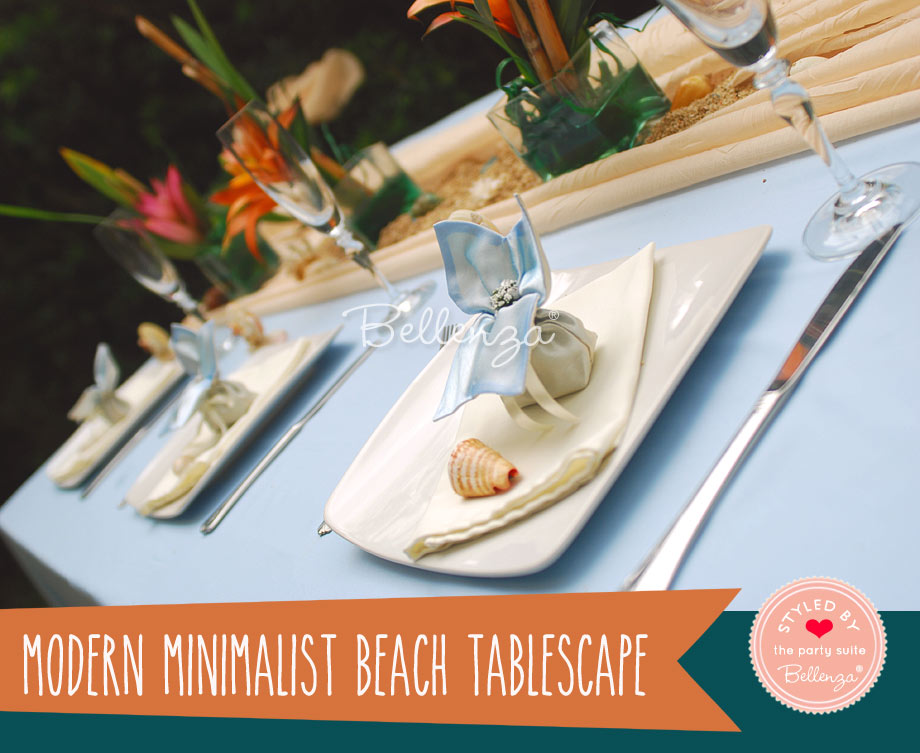Modern minimalist beach table decorations.