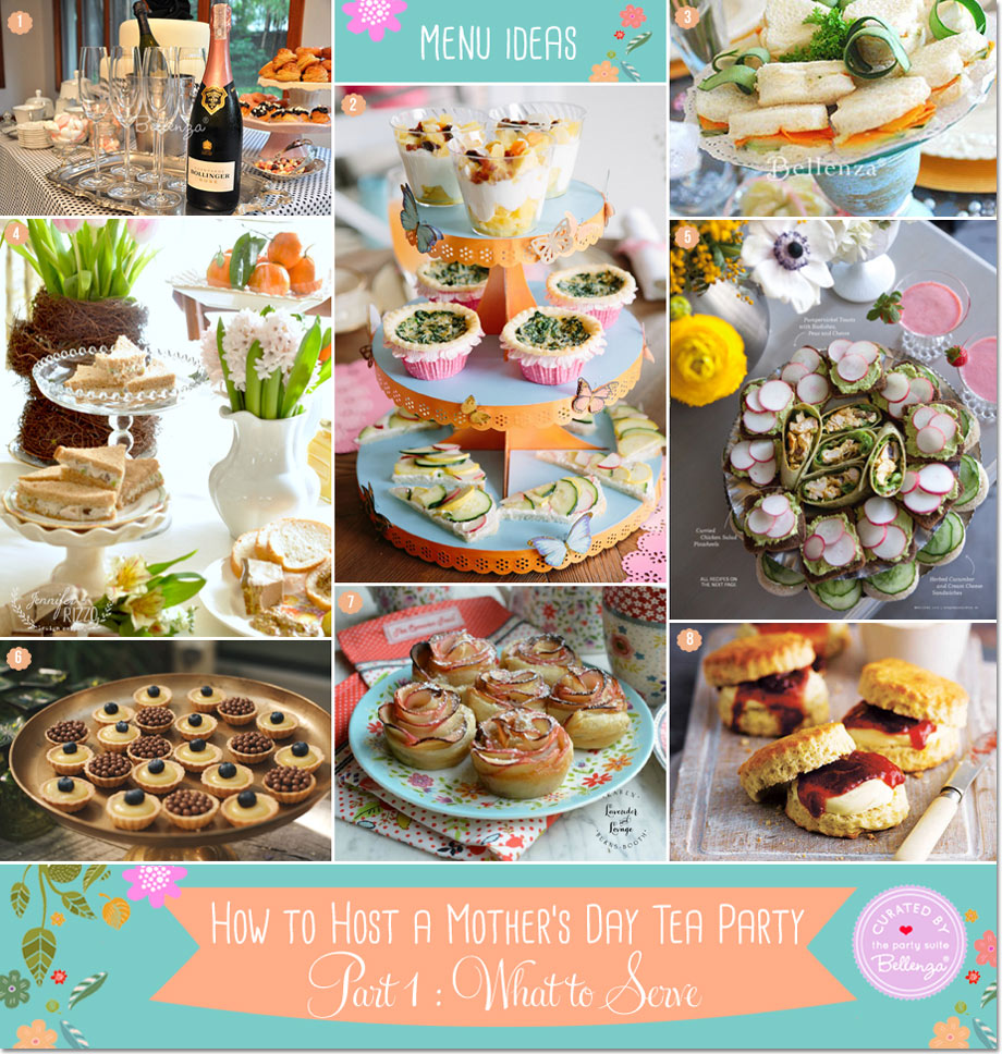 Tea Party Food for Mother's Day from Curried Tea Sandwiches to Cream Cheese Bites