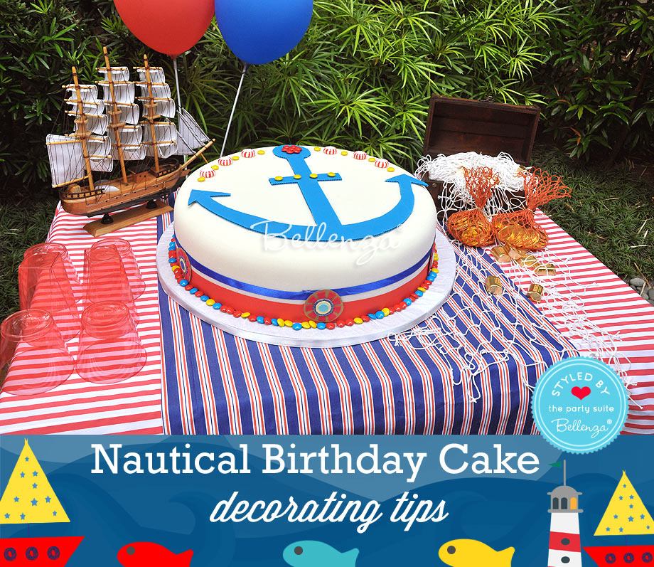 Present the finished birthday cake on a dessert table with a nautical ship backdrop and treasure chest of treats for kids.