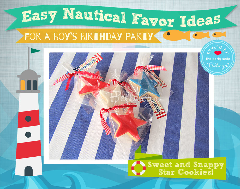 Nautical star cookies as favors in red, white, and blue.
