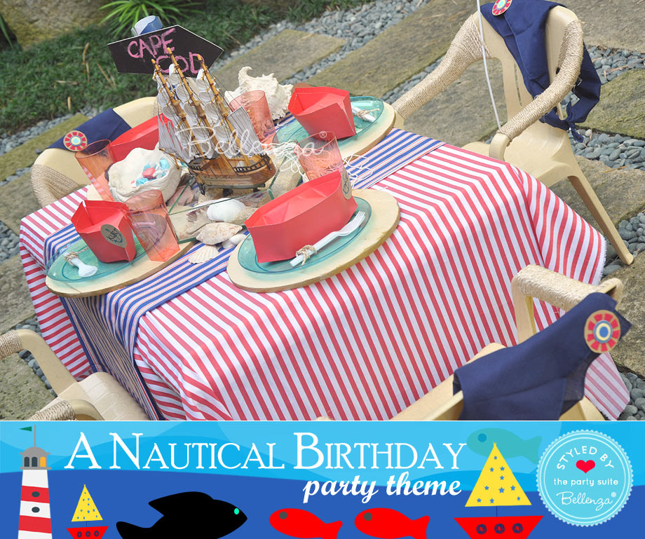 A Kid's Nautical Party Table with Paper Boats.