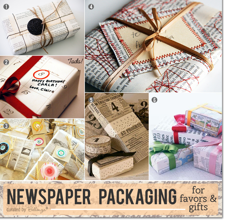 Creative ideas for newspaper packaging for gifts and favors.