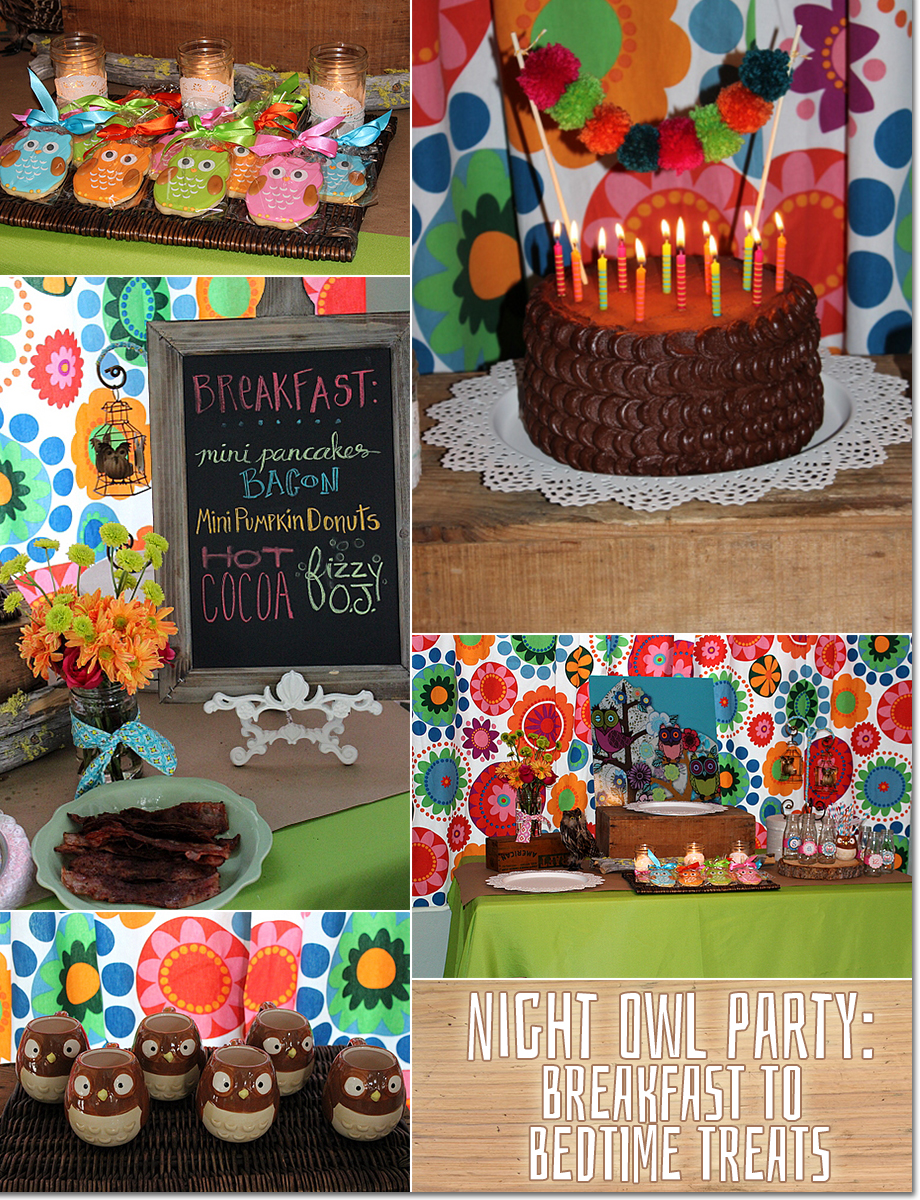 Night Owl Party Slumber Birthday Party Cake and Cookies