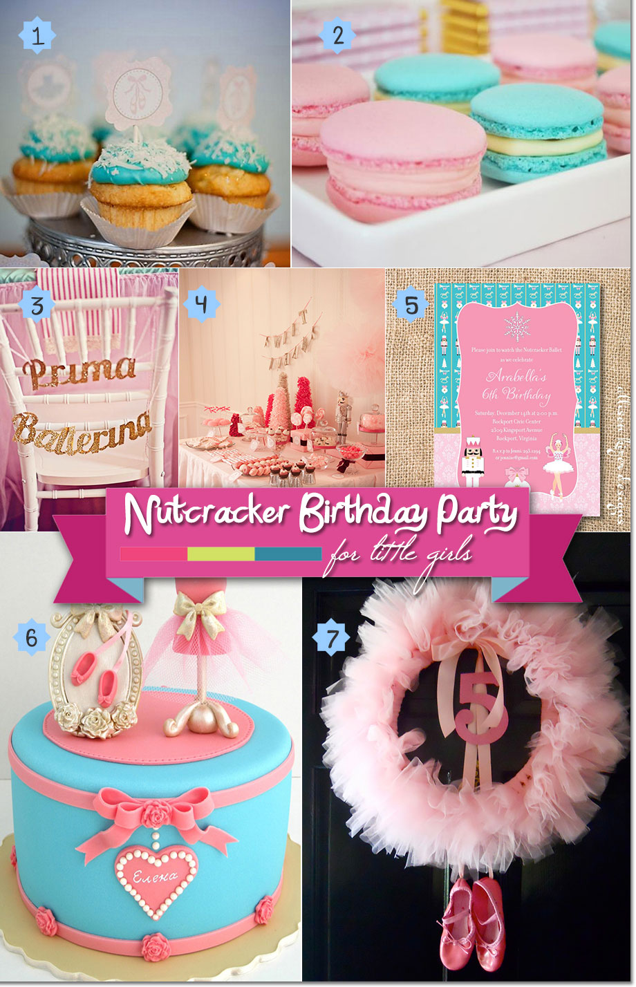 Ballerina Nutcracker party invitations, decor, sweets, and cake