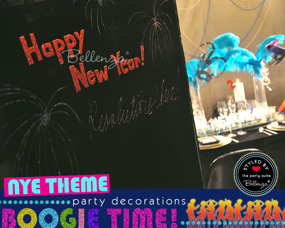Disco NYE Welcome Sign with Resolutions