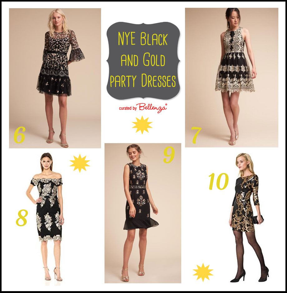 Glam black and gold party dresses for NYE party