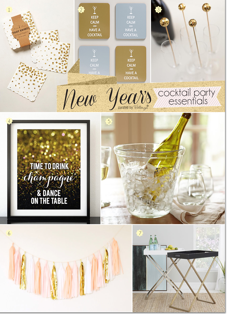 NYE Cocktail Party Essentials in Gold and Glitter by Bellenza.