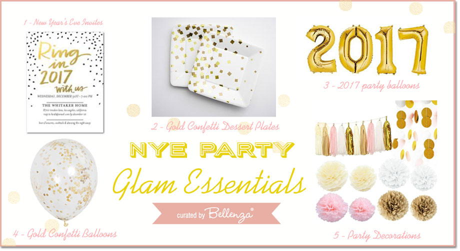 NYE Glam party essentials in pink, gold, blush, and white.