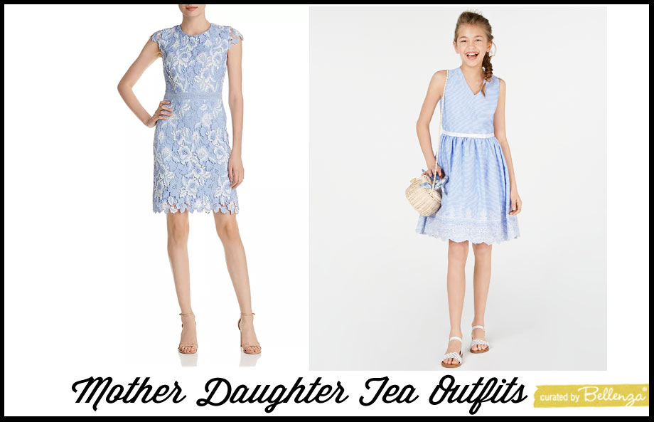 Preppy blue mother and daughter outfits