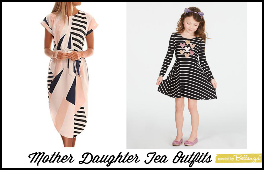 Black and white dresses for mom and daughter tea party