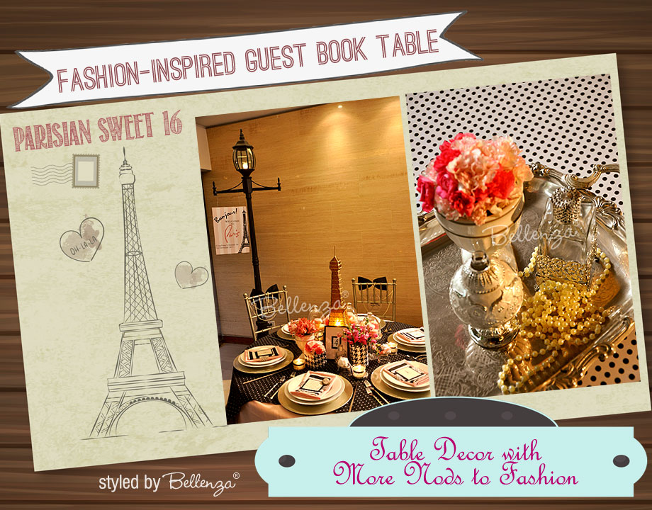 Parisian Sweet 16 Guestbook Table and Table Setting | the Party Suite at Bellenza