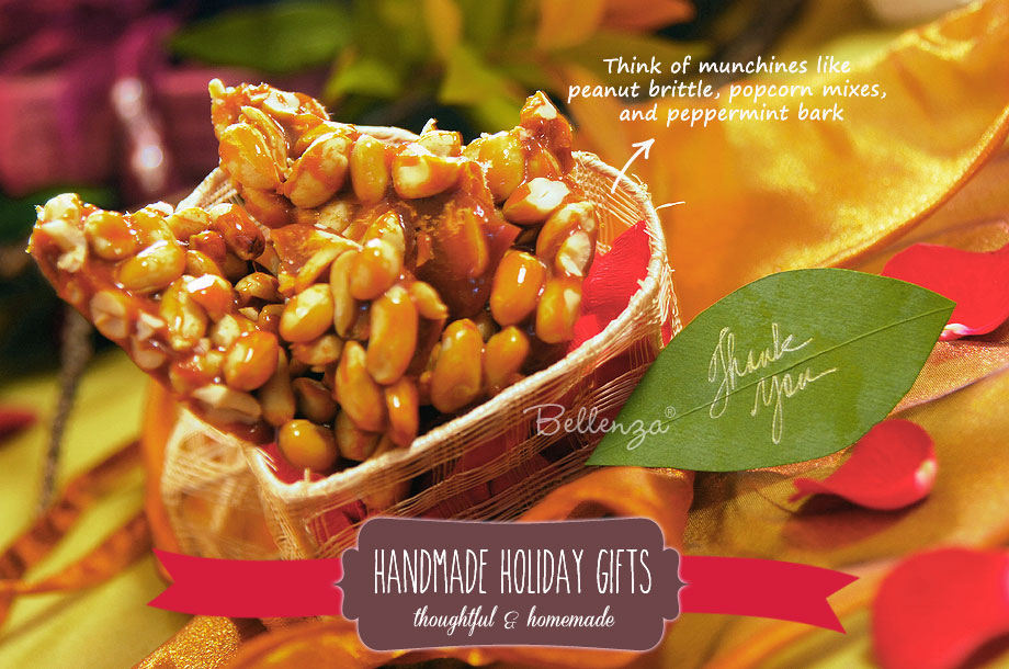 Holiday gift boxes with peanut brittle and other munchies