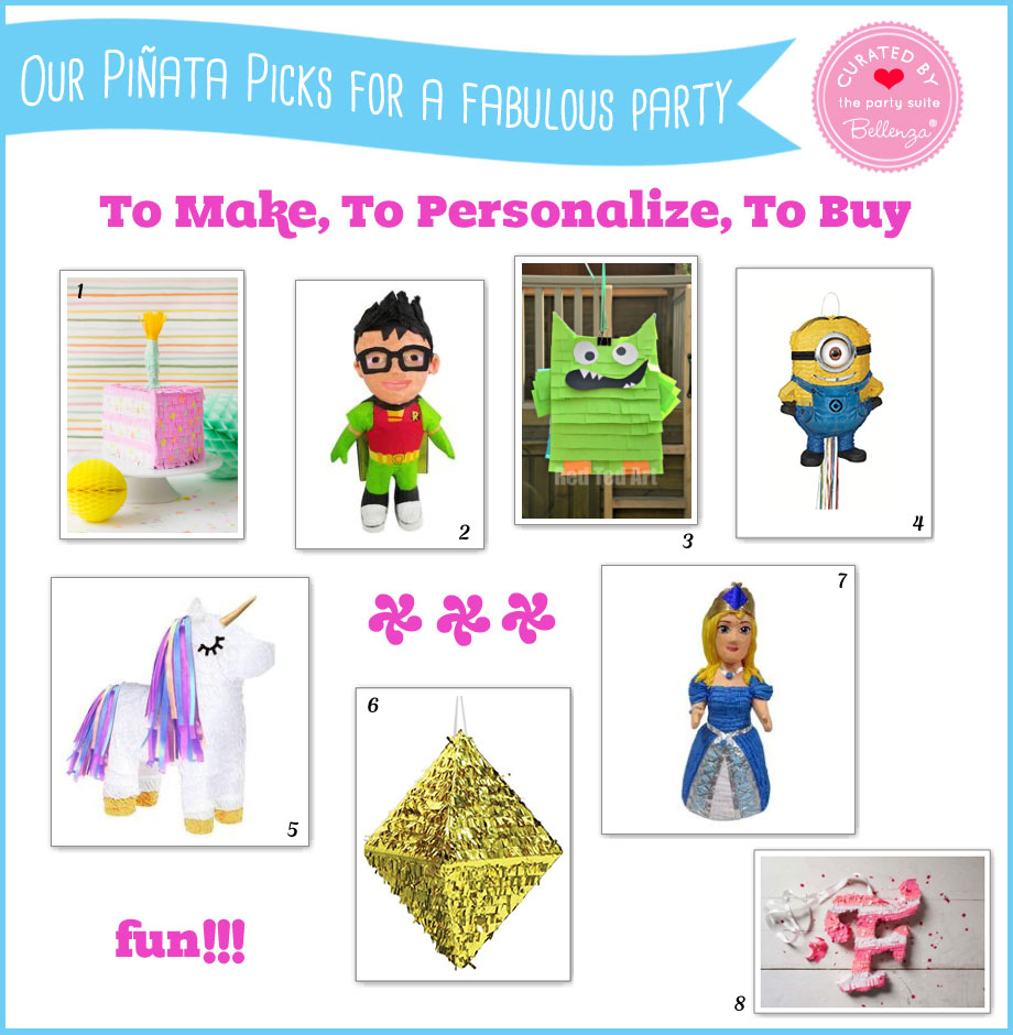 Our Piñata Picks. To Make, To Personalize, To Buy. Unicorn, Cake, Super Hero, Diamond, Princess, and Minion.