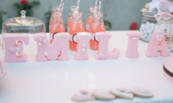 Pink baptism party sweets table. Photo by Officina Stravagante