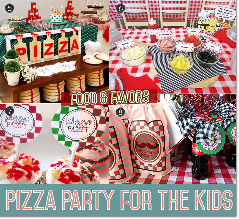 Food and favors for a pizza themed party