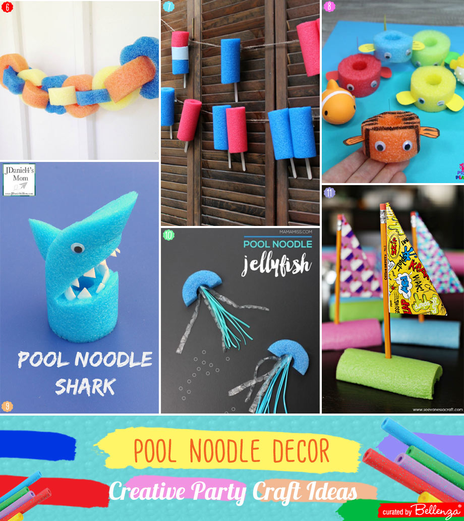 Pool noodle party decorations with sharks to garlands
