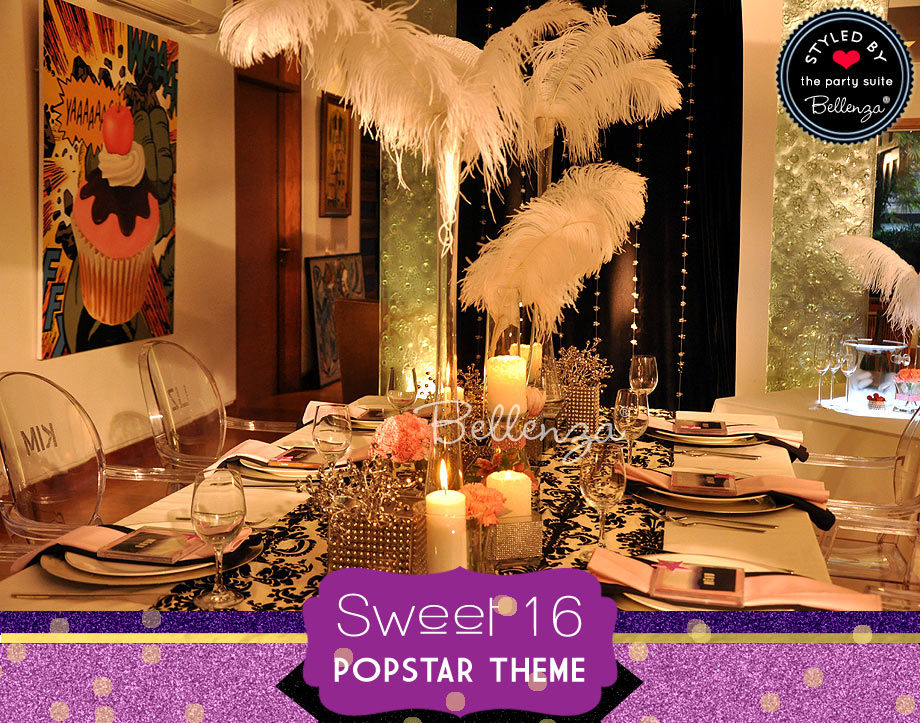 Glittery tablescape for a sweet 16 popstar theme.