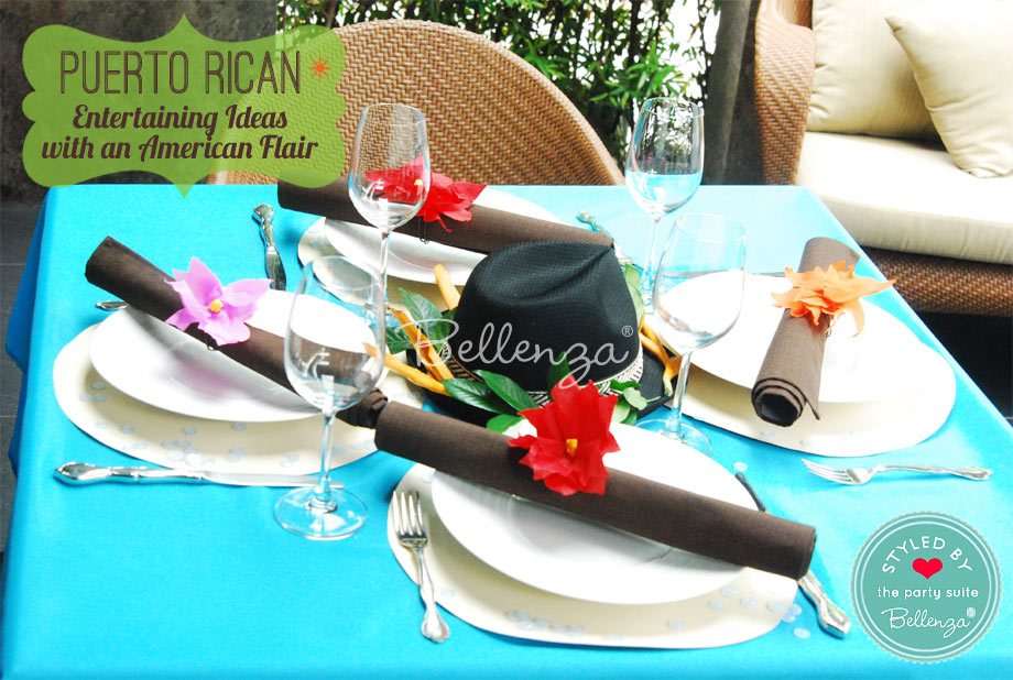 Bright and bold table settings for a Puerto Rican American party luncheon