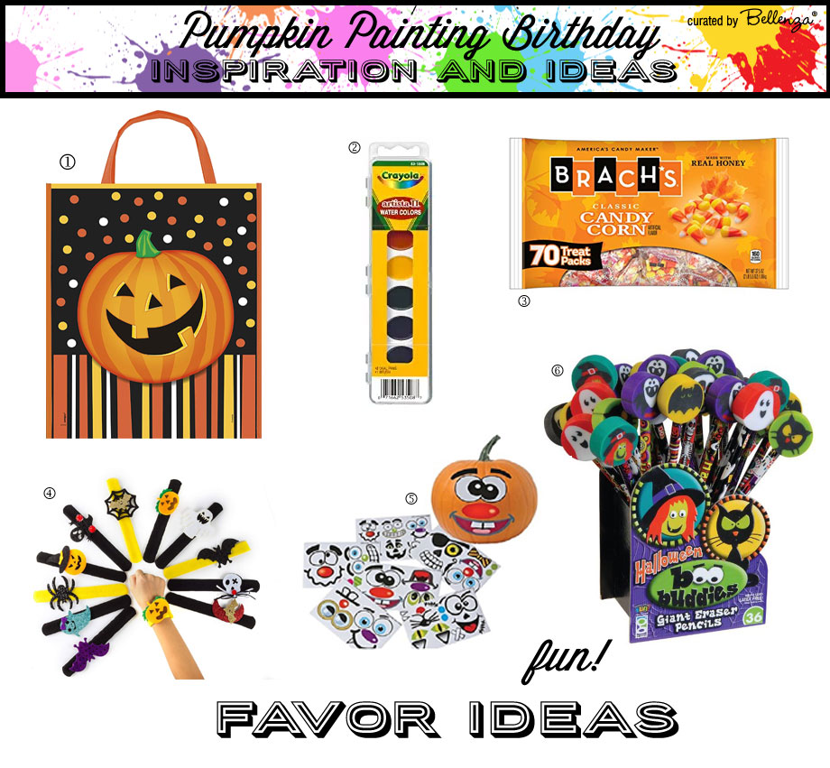 Pumpkin painting birthday loot bag fillers