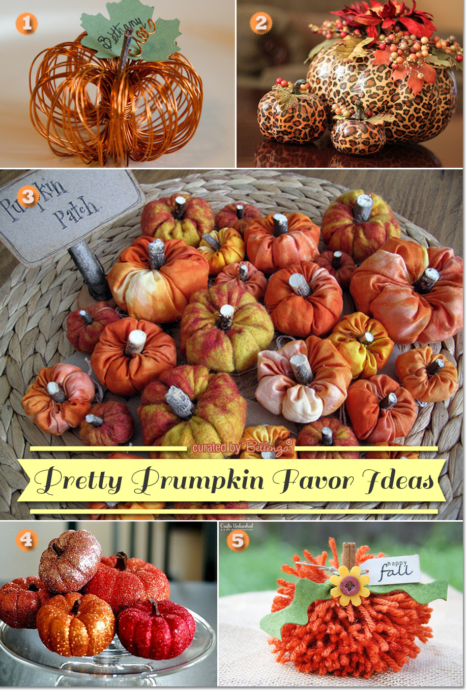 Pumpkin Favors Ideas with Pin Cushions, Wire Place Card Holders, Glitter Pumpkins, and Fabric Paper Weights
