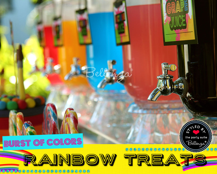 Rainbow beverages for a party