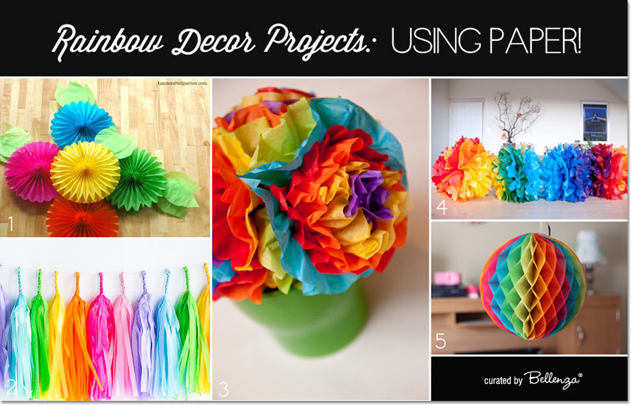 Diy Rainbow Party Decorations Made From Paper