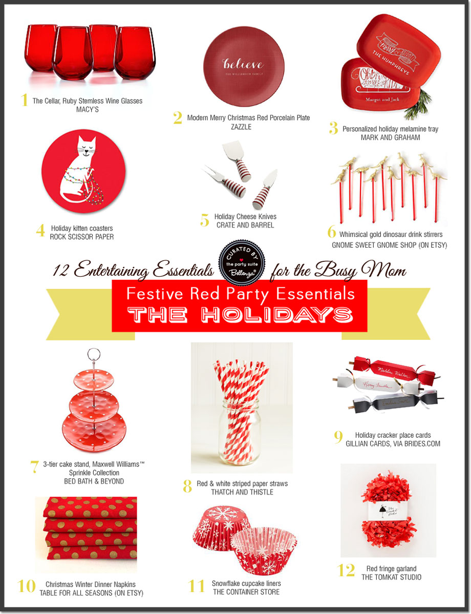12 Red Party Basics for Happy Holiday Hosting! The Party Suite at Bellenza.