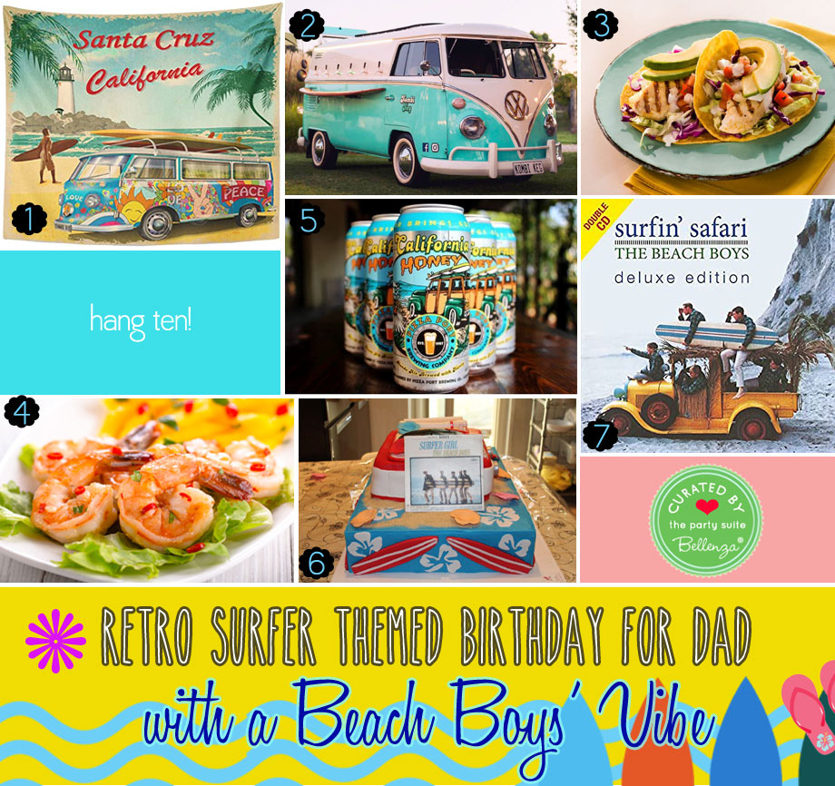 Retro Surfer-themed Birthday Ideas for Dad with a Beach Boys' Vibe
