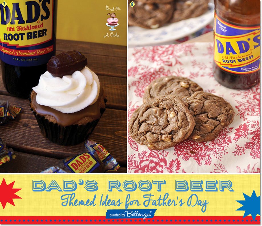 Dad's Root Beer-inspired Gift Ideas with Root Beer Float Cupcake and Cookies