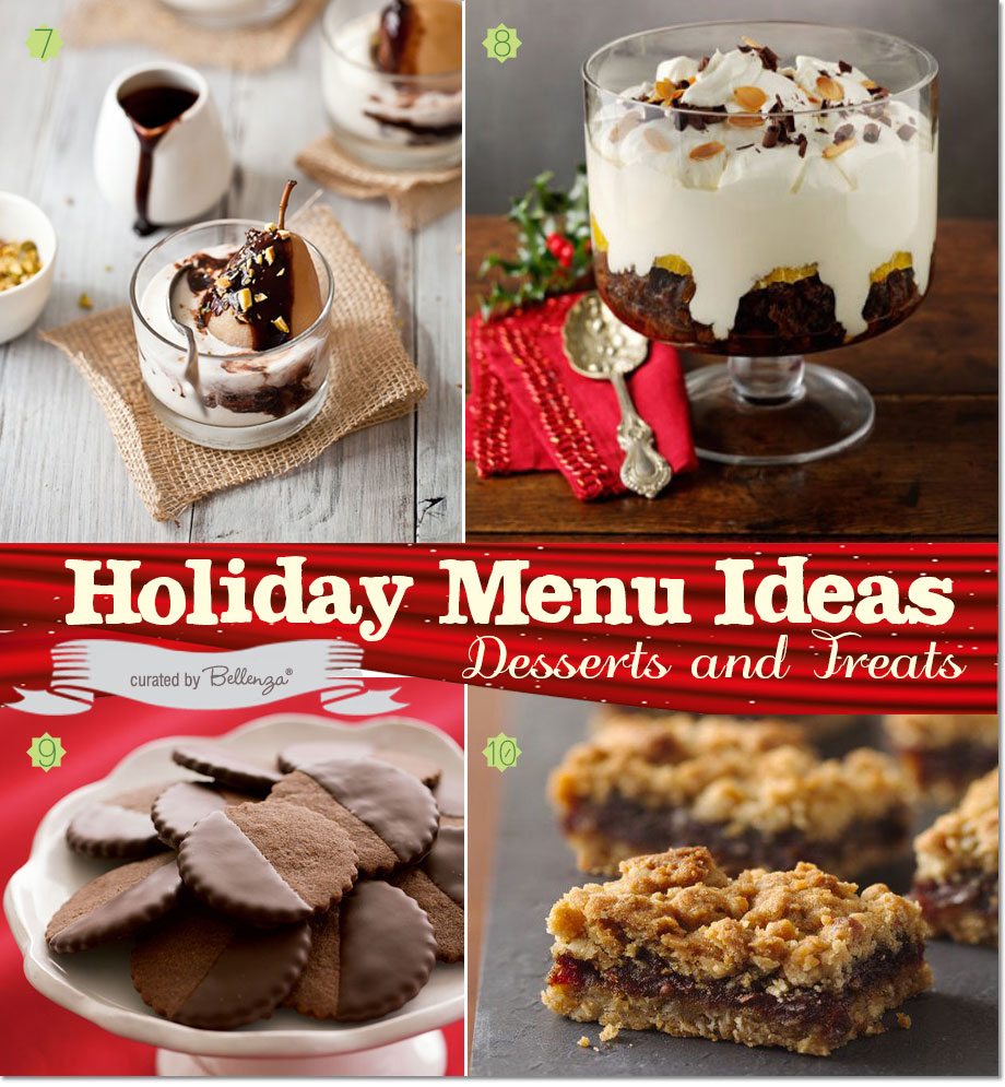 Rustic Christmas Desserts with Poached Pears, Pudding Trifle, Chocolate Hazelnut Cookies, and Date Bars