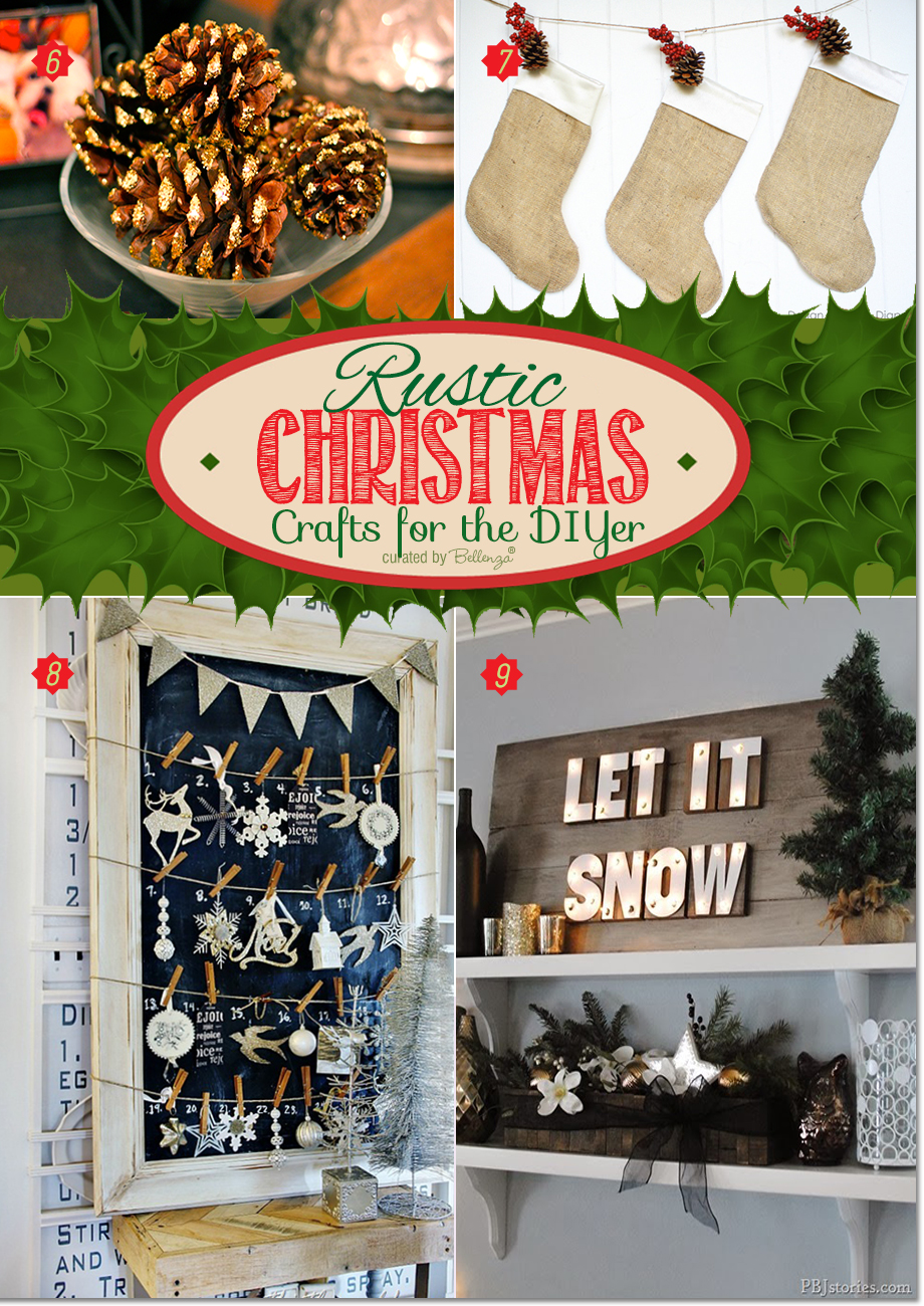 Rustic Christmas Decorations with Glittery Pine Cones, Burlap Stockings, Chalkboard Advent Calendar, and Marquee Sign.