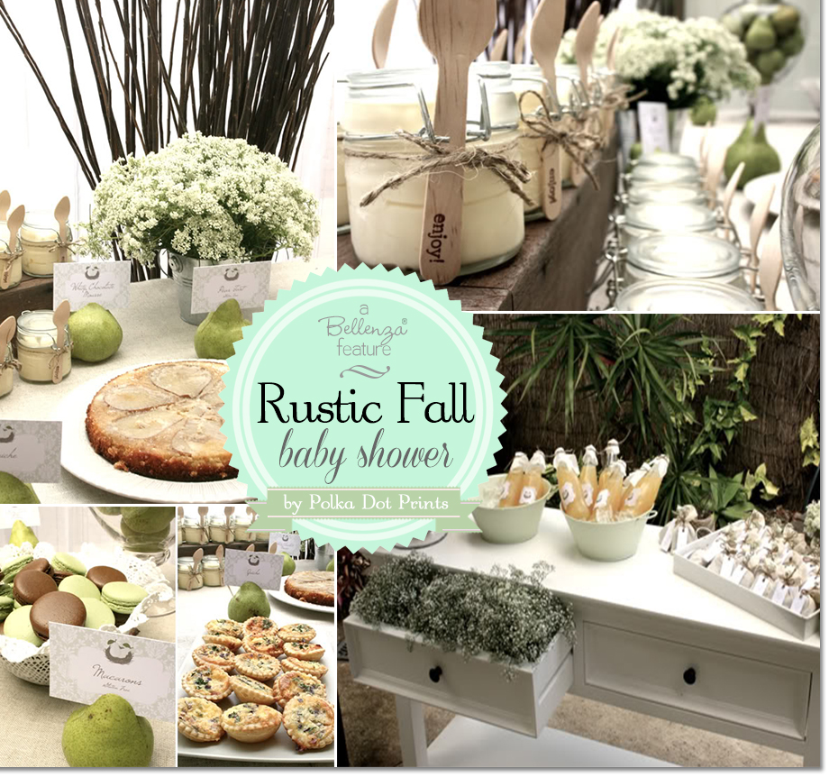 Rustic fall baby shower with a perfect pair theme by Polkadot Prints. Features a chic and simple party palette in green hues.
