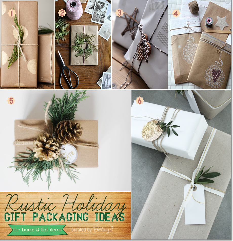 Rustic gift wrapping for the holidays with brown kraft paper and decorative accents