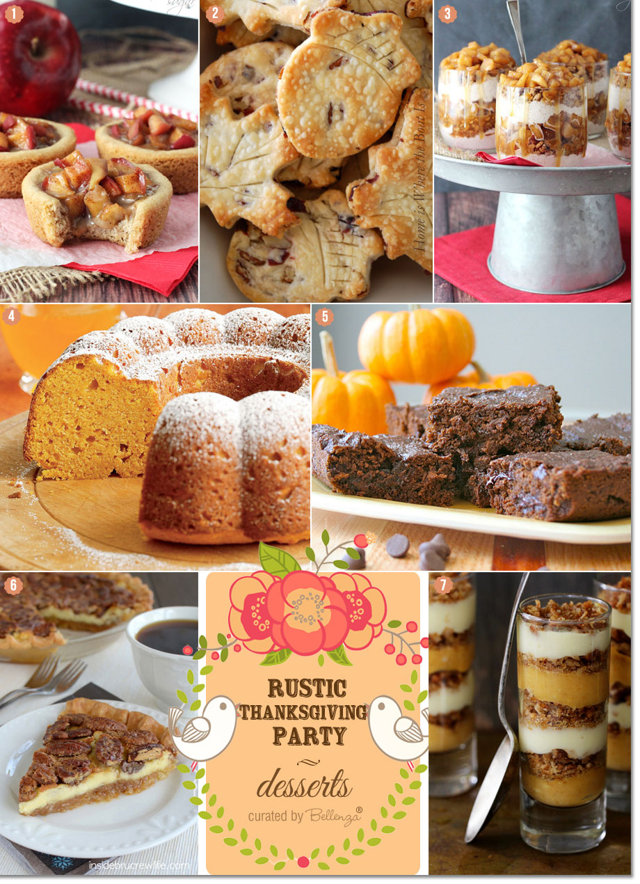 Thanksgiving dessert ideas with apple pie trifle, bundt cake, pecan cheesecake, and pumpkin brownies!