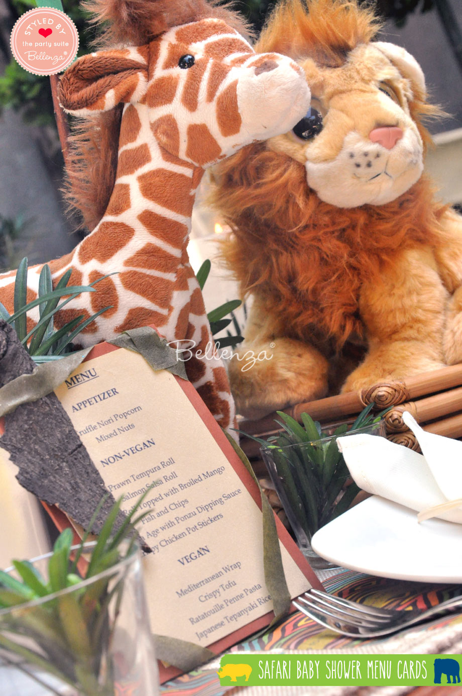 Safari menu card diy with stuffed animals as decorations.