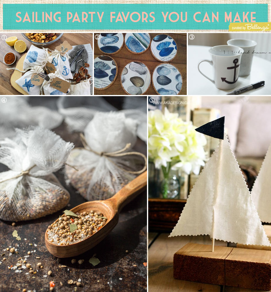 Sailing or regatta themed party favors for a nautical reitrement or birthday party