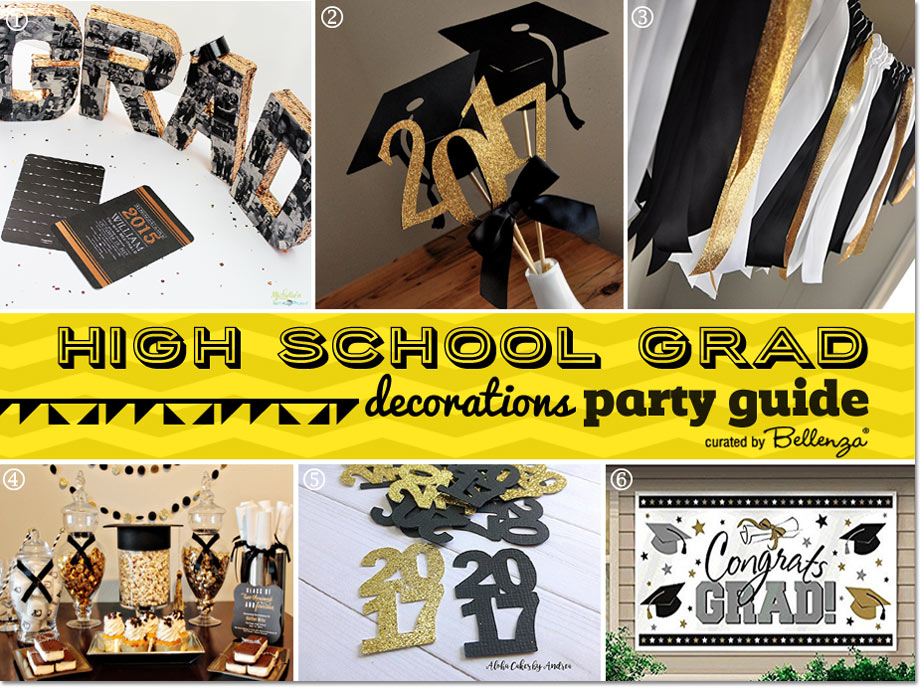 Grad Party Decorating Ideas in Black and Yellow Gold // Planning Guide by Bellenza.