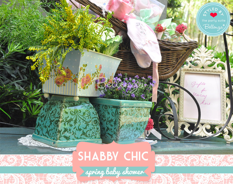 green ceramic pots on a gift table for a spring baby shower with vintage, upcycled elements