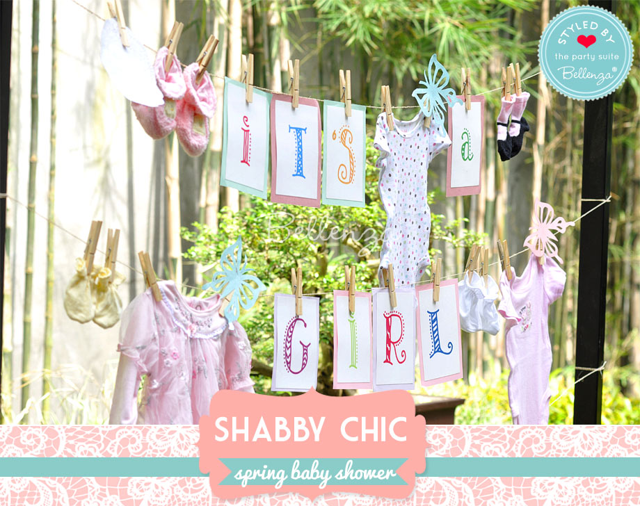 spring baby clothes garland for a shabby chic baby shower