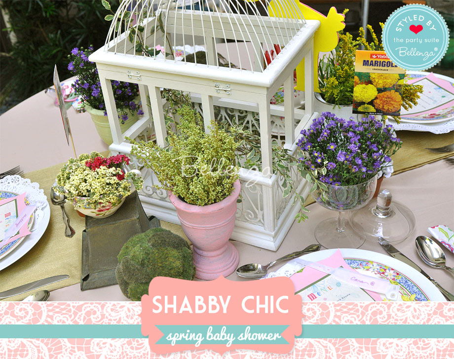 mix of pink and green pots for a spring shabby chic baby shower
