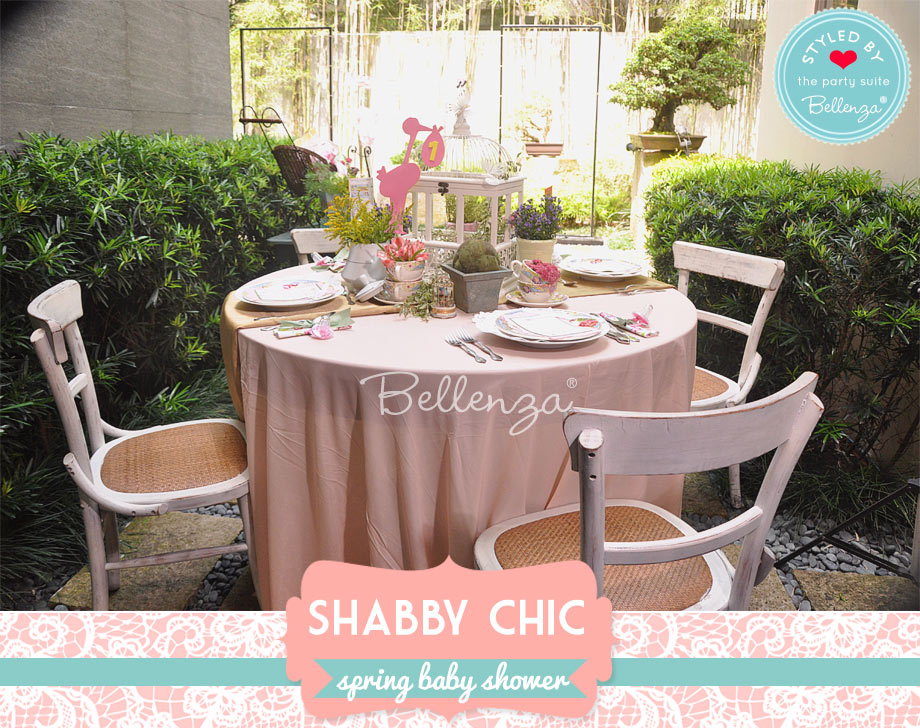 spring shabby chic baby shower tablescape