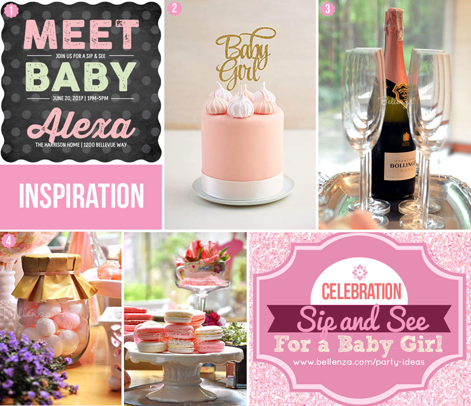 Sip and See Welcome Baby Girl Party Food to Decor
