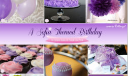 Sofia themed birthday party ideas from balloons to invitations to favors in pink and purple.